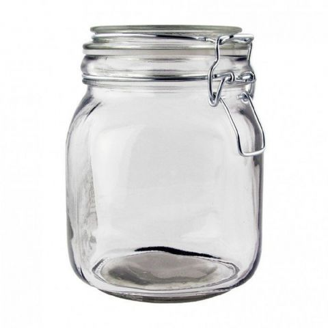 Clip Top Glass Kitchen Food Storage Jar 1L